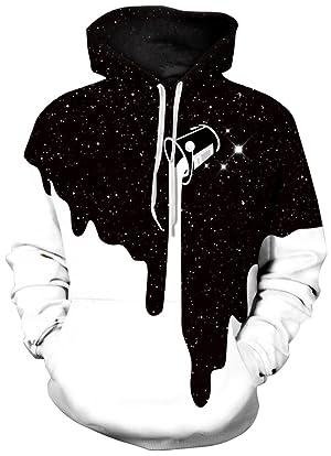 00cae2eb895 FLYCHEN Men s Digital Print Sweatshirts Hooded Top Galaxy Pattern Hoodie