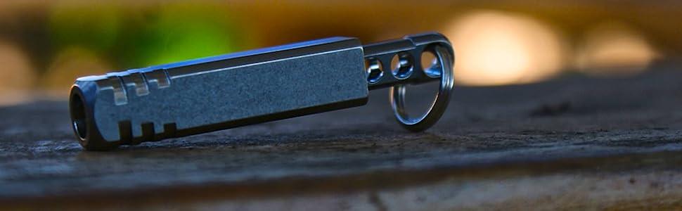 TEC Accessories Pixel Ti Microlight - Precision Machined Titanium Keychain  LED Flashlight (Cool White Color) - Ultra Light Keychain Flashlight with