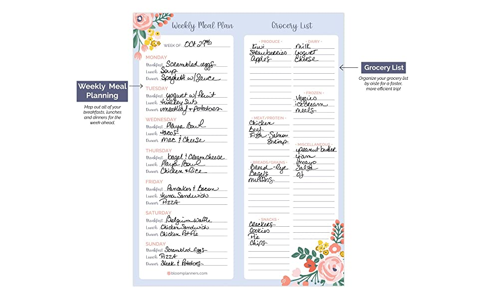 """bloom daily planners Weekly Magnetic Meal Planning Pad for Fridge with Tear-Off Grocery Shopping List - Hanging Food/Menu Organizer Notepad with Magnets - 8.5"""" x 11"""" 12"""