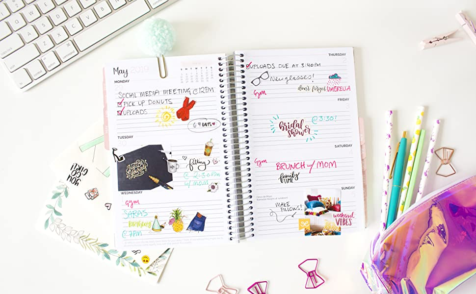 bloom daily planners 2019 HARDCOVER Holographic Calendar Year Day Planner - Passion/Goal Organizer - Monthly and Weekly Dated Agenda Book - (January ...