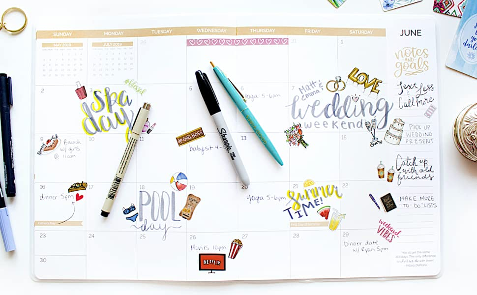 bloom daily planners 2019 Calendar Year Monthly Planner - Goal Organizer - Monthly Datebook Fashion Agenda - January 2019 Through December 2019-9