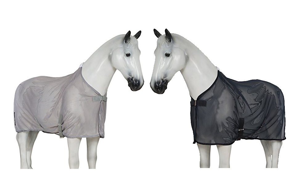 Image of 2 fake horses on white background one wearing a grey, the other wearing black Fly Sheet