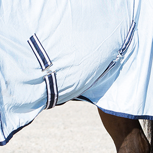 Detail shot of the twin crossing surcingles on the belly securing the sheet to the horse