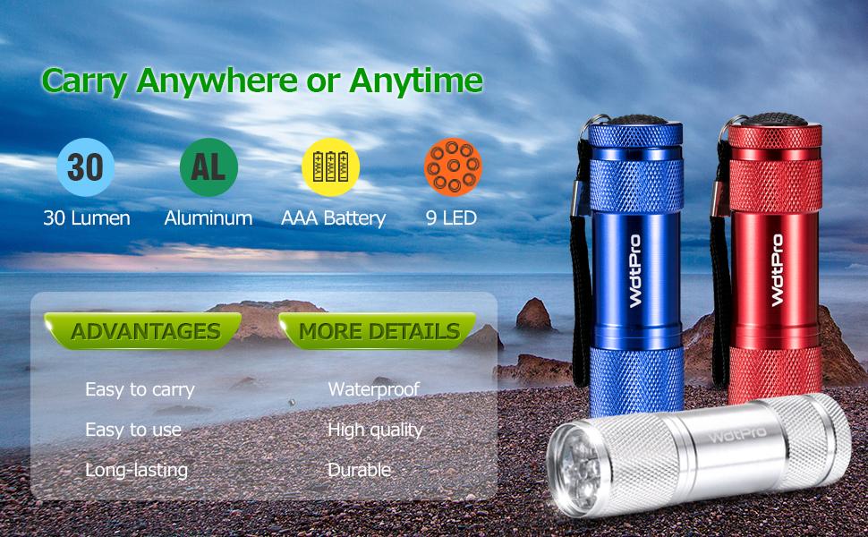 7 LED Aluminium Mini Torch Flashlight Small Super  Bright Battery ZY