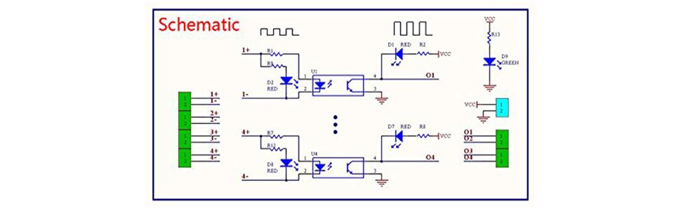 Amazon Com  Icstation 4 Channel Voltage Level Translator Opto Isolator Board Pnp Npn Plc Signal
