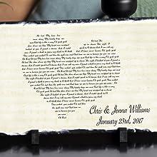 Heart Lyric Plaque - wedding first dance lyrics