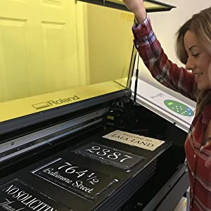 Kelly working with our UV printer
