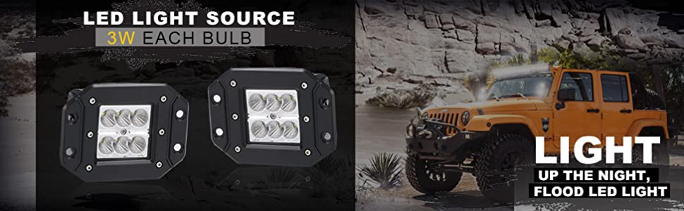 Turbosii Spot 3x3 Flush Mount Led Pods Cube Reverse Backup Auxiliary Driving Fog Lights Front Rear Bumper Offroad Work Light Bar Toyota Tacoma Tundra