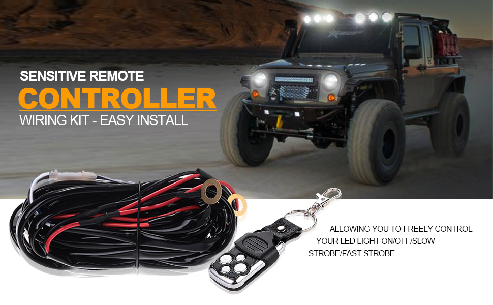 amazon com turbo sii off road led light bar wireless remote Strobe Light Wiring Harness turbosii 1lead led wiring harness kit designed and made specifically for high output light bars which has substantially higher amperage draw than its 3 pin strobe light wiring harness