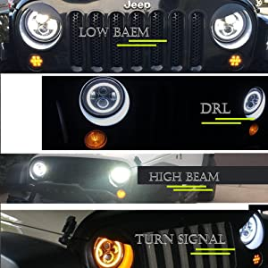 TURBOSII DOT Approved 7in Round LED Headlight For Jeep Wrangler JK TJ LJ CJ Hummer H1 H2