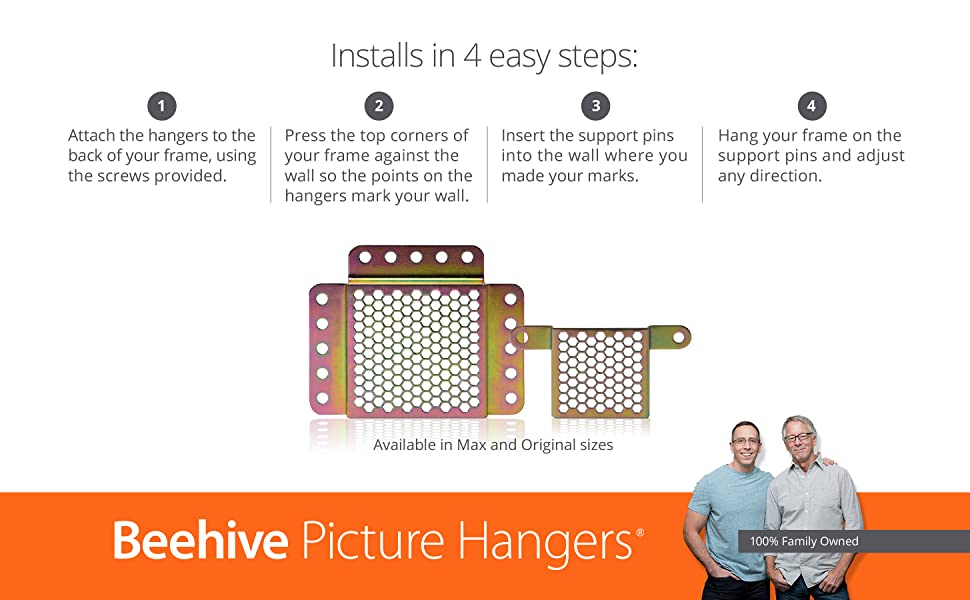 Beehive Picture Hangers Revolutionary Picture Frame Hanging Kit
