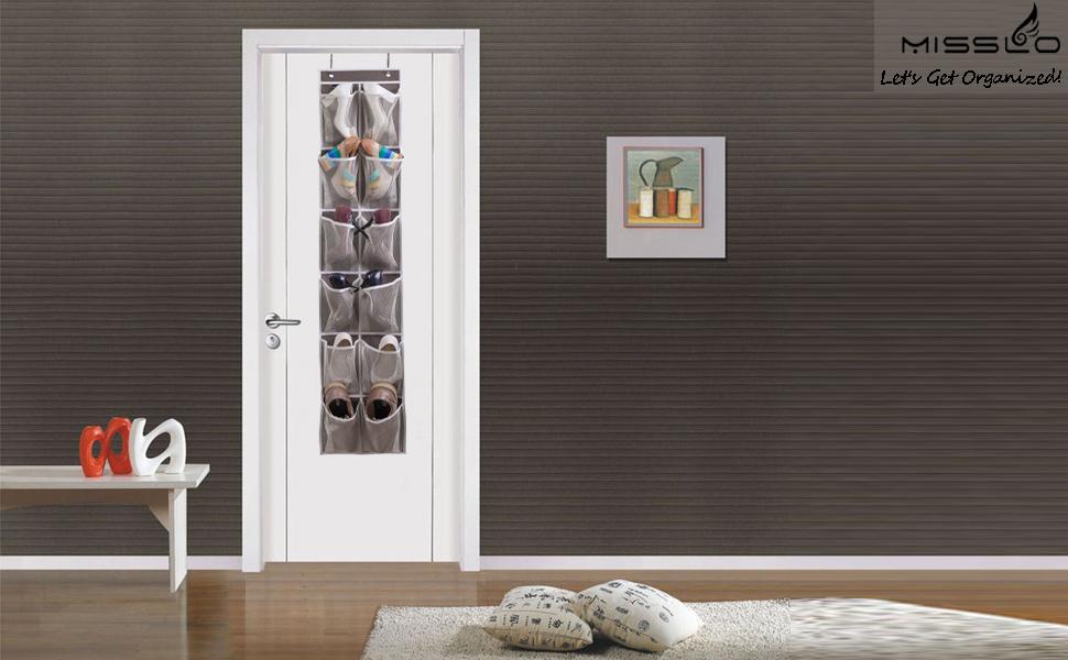 Is Your Door Too Narrow To Fit Regular Over Door Shoe Organizer? Try This  MISSLO New Storage Solution Which Is Special Designed For Narrow Door.