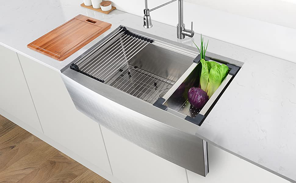 Ruvati 33 Inch Apron Front Workstation Farmhouse Kitchen Sink 16 Gauge Stainless Steel Single Bowl Rvh9200