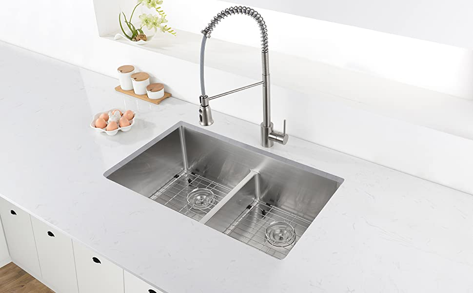 Prime Ruvati 28 Inch Low Divide Undermount Tight Radius 60 40 Double Bowl 16 Gauge Stainless Steel Kitchen Sink Rvh7255 Download Free Architecture Designs Scobabritishbridgeorg