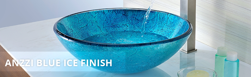 Accent glass vessel sink