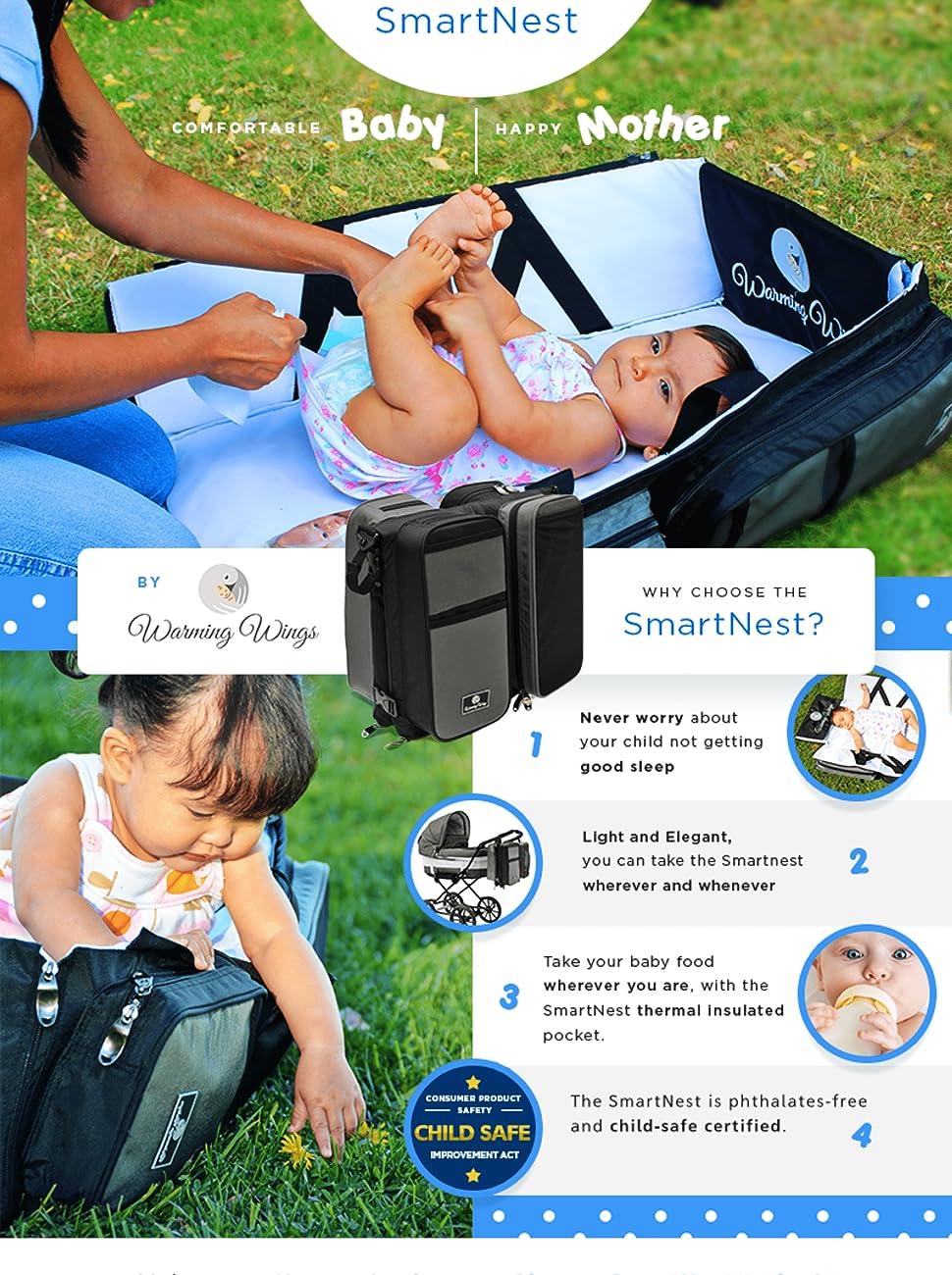 Warming Wings Smart Nest Diaper Bag Travel bassinet changing mat portable bassinet play pen