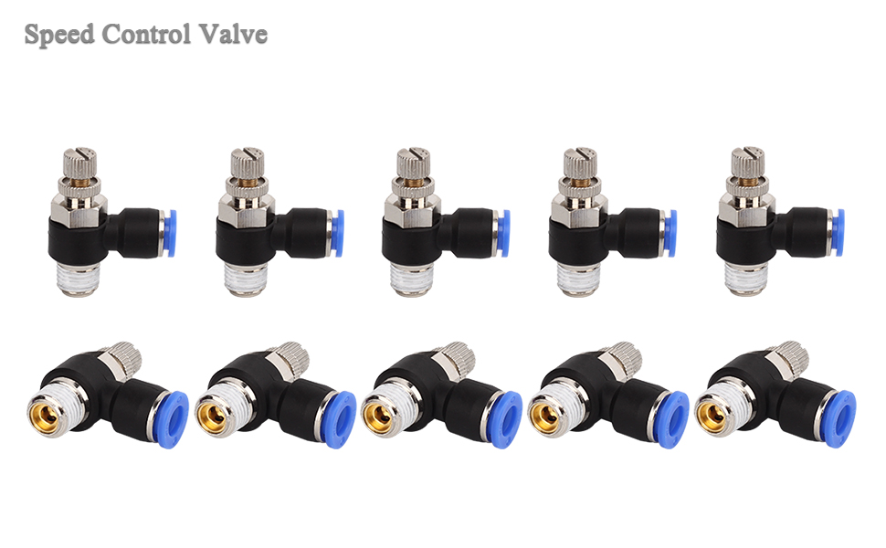 10 PCS SNS JSC3//8-N02 3//8Tube OD x 1//4 NPT 90 Degree Elbow Air Flow Control Valve Push to Connect Fitting Speed Control Valve