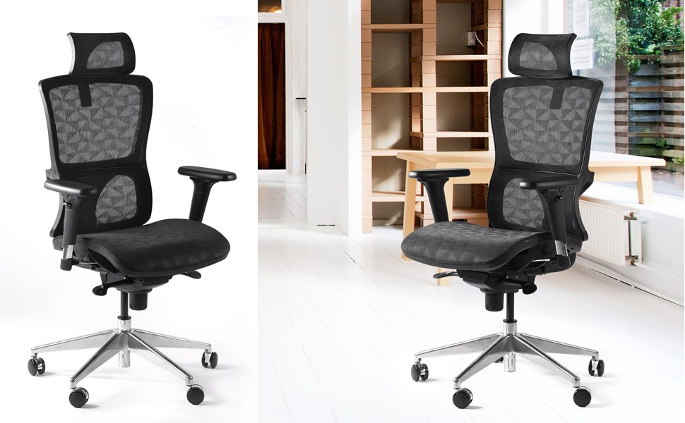 high back mesh office chair with leather effect headrest. cctro high back mesh ergonomic office chair with adjustable headrest armrest leather effect s