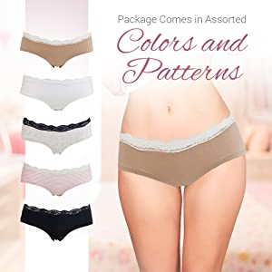 54cfcbdae7 Womens Lace Underwear Hipster Panties Cotton Spandex - 5 Pack Colors ...