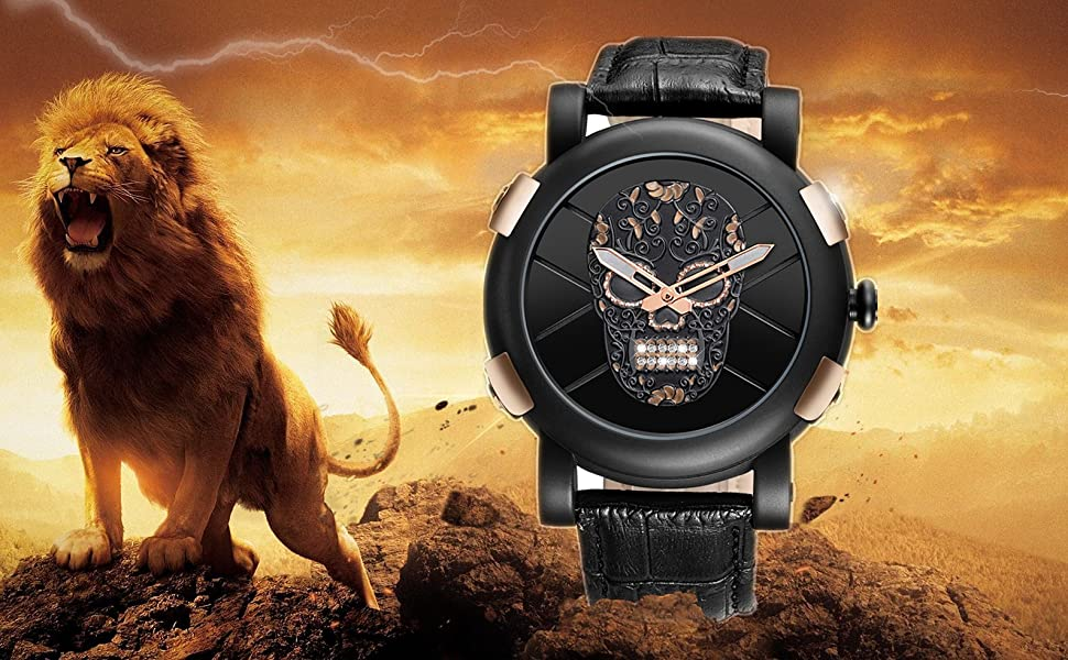 analog watches for men gift skull watch leather male wristwatch