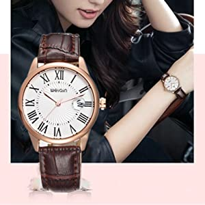 Leather Dress Analog Quartz Watch