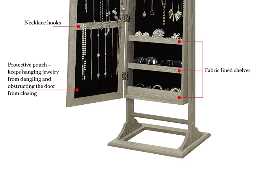 Abington Lane Standing Jewelry Armoire - Lockable Cabinet Organizer with Full Length Mirror and LED
