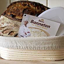 banneton bread proofing basket with bread bosses hangtag and baked loaf and dough scraper