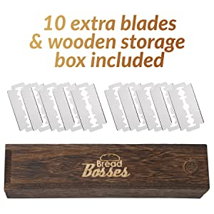 bread bosses bread lame razor blades wooden box