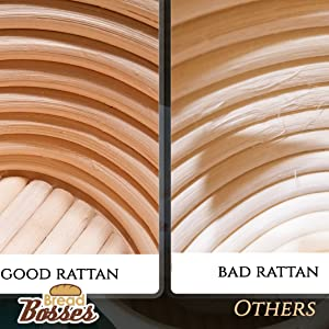 bread bosses good rattan banneton bread proofing basket material compared to bad rattan from others