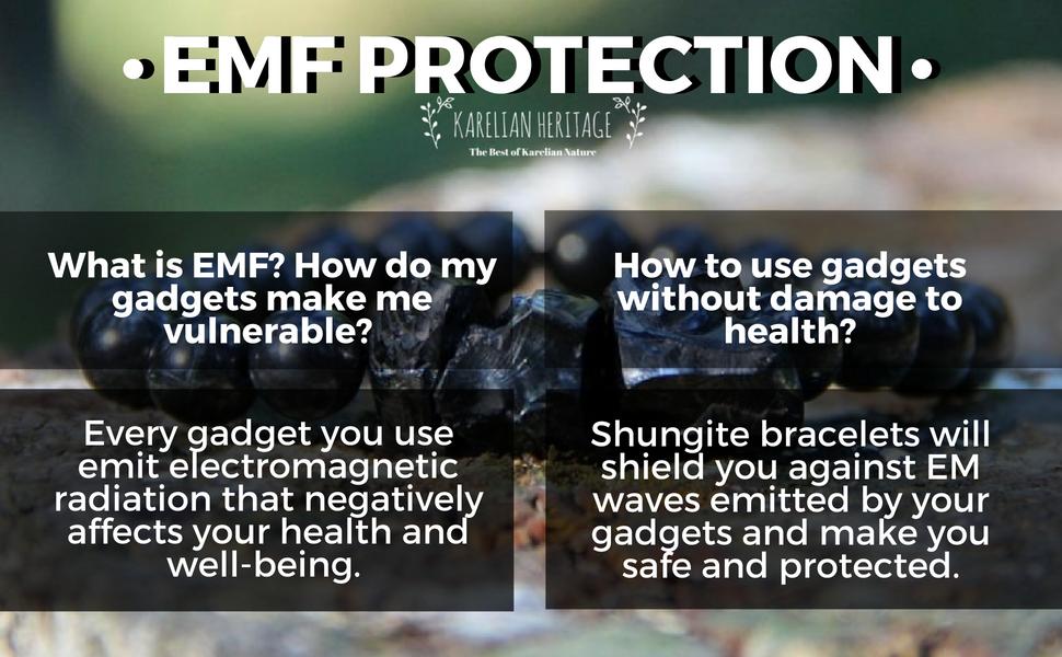 Karelian Heritage Shungite Beaded Bracelet Against EMR, EMF Protection