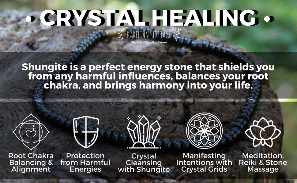 Shungite necklace crystal healing