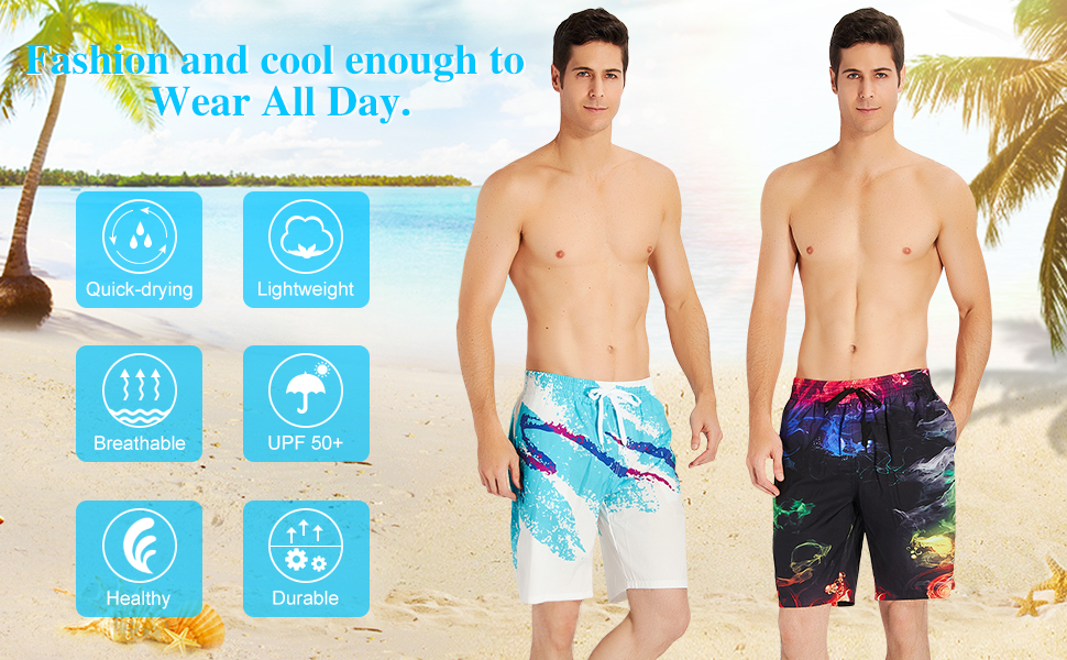 Mens Summer Cool Cat Sunglasses Quick-Dry Running Swim Trunks Boader Shorts Beach Swimsuit Sports