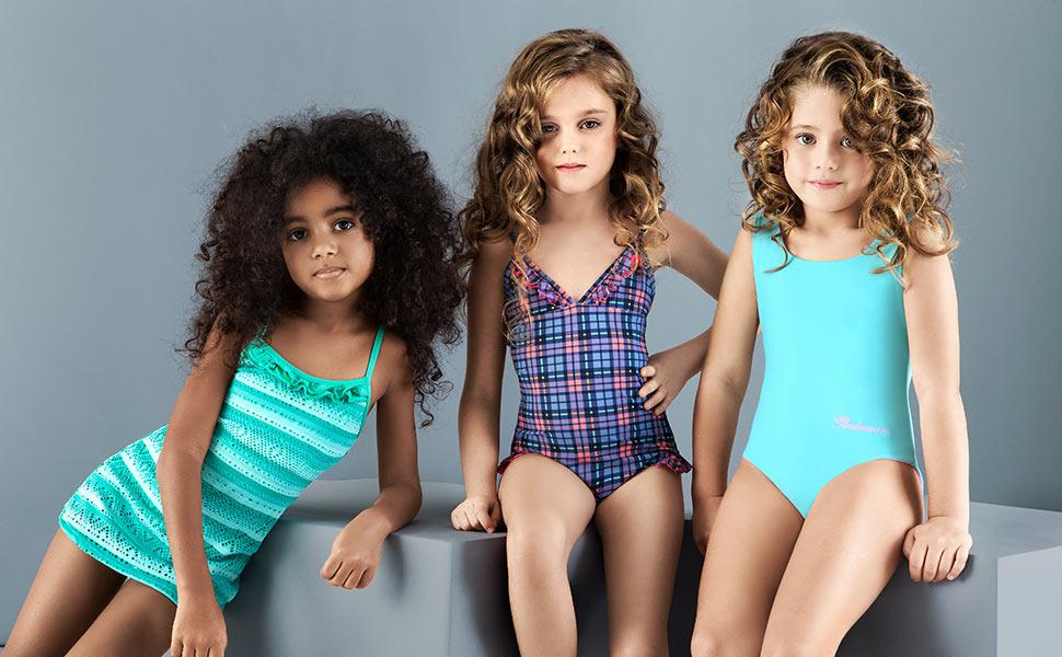Ages:4-12years Girls Swimwear Cerise Polka Dot Two Piece Tankini Swimming Suit