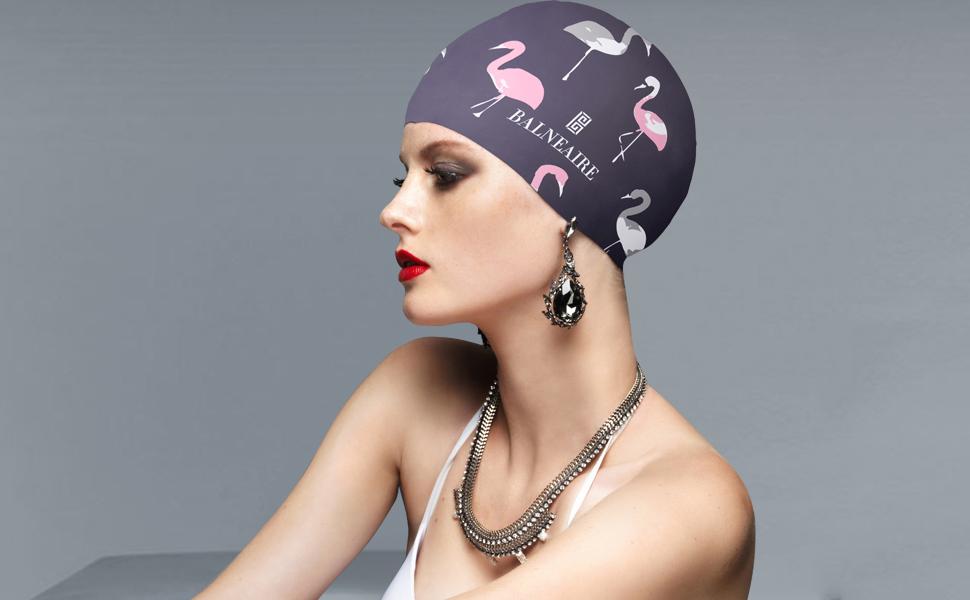 5b08dfbcbc3 Swim Caps Sports & Fitness Beemo Swim Bathing Caps for Women/Girls Retro  Style Latex with Embossed Flower Pattern Ornament Swimming ...