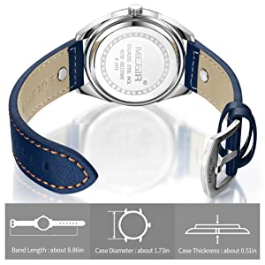 MEGIR Mens Analogue Quartz Watch with Stylish Casual Blue Leather Strap for Business Work & Sport ML2072GBE-2