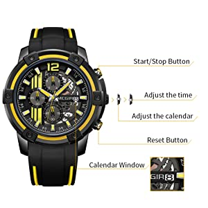 It is easy to set time & date. Perfect and ideal for leisure but also look great with business attire. Also excellent wear for sport activities.