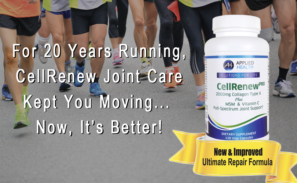 CellRenew PRO contains Hydrolyzed Collagen Type II, combined with MSM (a patented bioavailable form of dietary sulfur), and Vitamin C.
