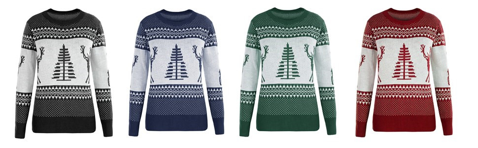 Womens Pullover Ugly Christmas Print Tops Casual Autumn Long Sleeve Graphic T-Shirt Xmas Tree Reindeer Snowflake Pattern Jumper Crew Neck Sweatshirt Tee Shirt for Teen Girls