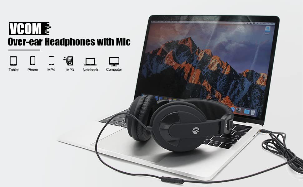 wired over ear headphones for laptop school pc