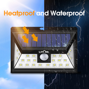 Yard Deck-4 Pack Easy-to-Install Security Lights for Front Door IP65 Waterproof Garage LITOM Original Solar Lights Outdoor 3 Optional Modes Wireless Motion Sensor Light with 270/° Wide Angle