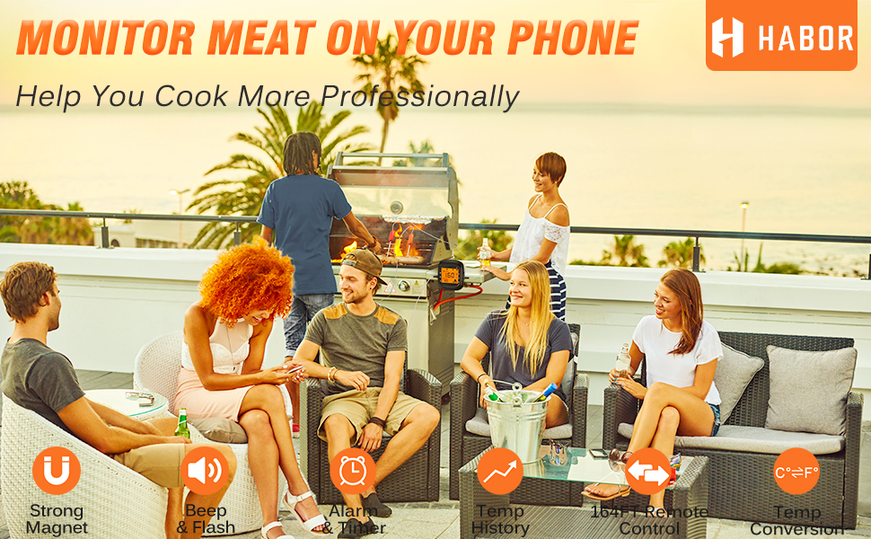 Habor Wireless Meat Thermometer Monitor your food from 164FT away.