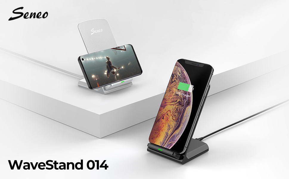 Seneo Wireless Charger, Qi Certified Wireless Charging Stand Compatible with Iphone XS Max/XR/XS/X/8/Plus, 10W for Galaxy Note 9/S9/Plus/Note 8/S8, 5W ...
