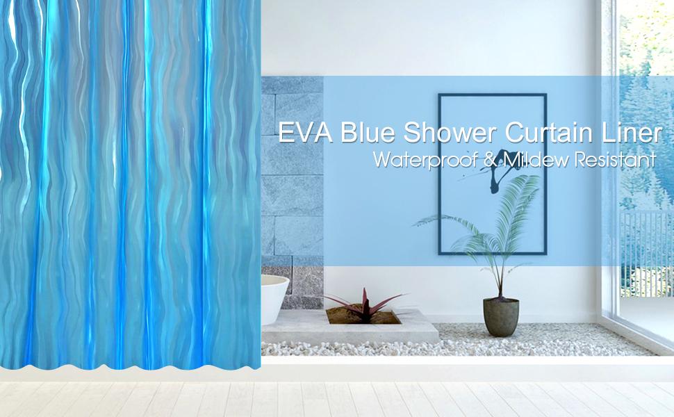 Wimaha Blue Water Repellent Anti Mildew Shower Curtain Liner