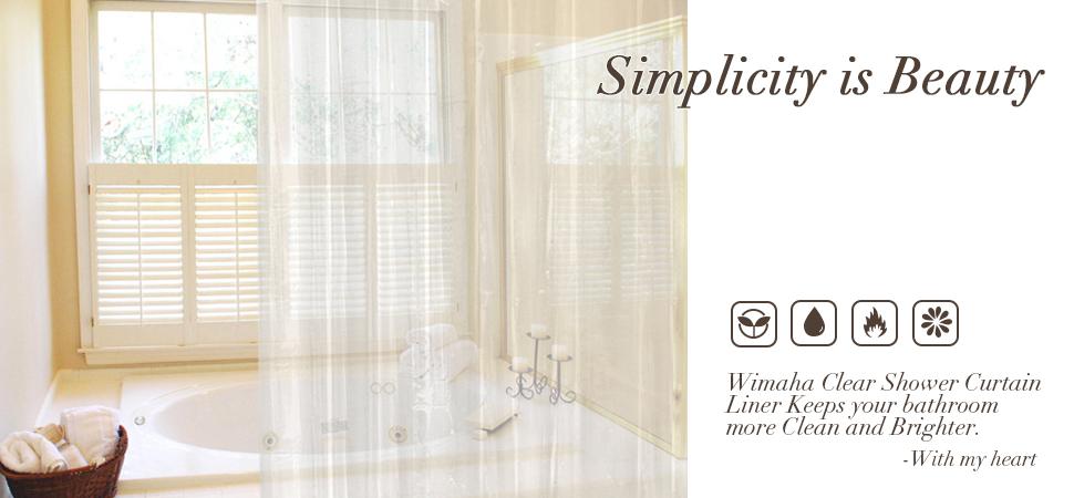 Amazon.com: Wimaha Clear Shower Curtain Liner 72x72, Waterproof ...