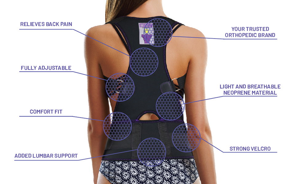 Back Brace Posture Corrector Improves Posture and Provides Lumbar Support Lower and Upper Back Pain