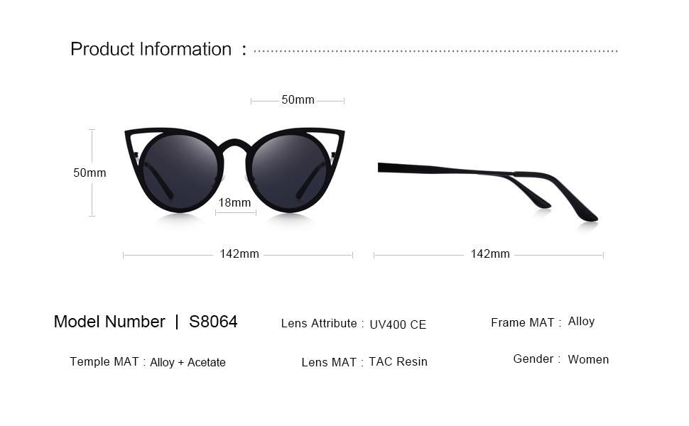 f828b7c4cf8e Amazon.com  MERRY S Cat Eye Sunglasses Round Metal Cut-Out Flash ...