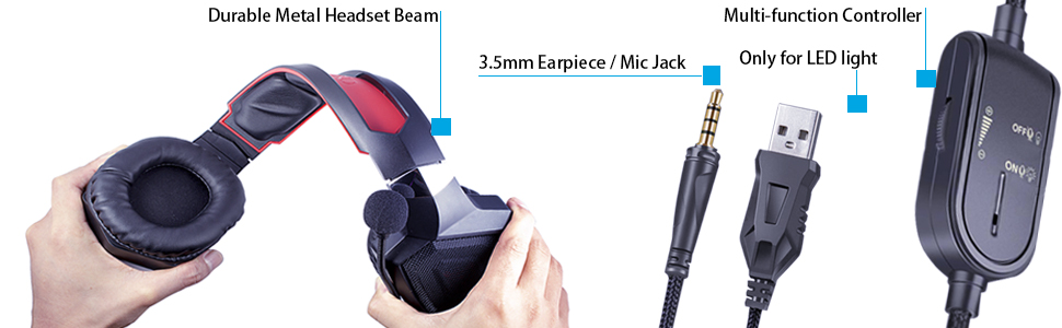 3.5MM earpiece mic jak led light