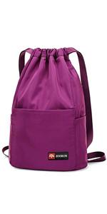 Amazon.com | ZOORON Waterproof Drawstring Gym Backpack Bag for Men & Women, Sport Gym Sack Mini Travel Daypack | Drawstring Bags