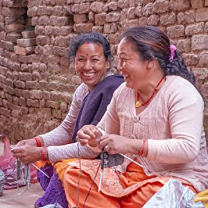 Lady knitters Tibetan Socks hand made in the Himalayas
