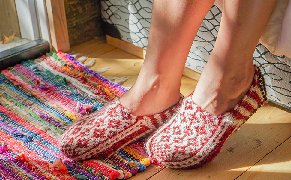Hand Knit Fleece Lined Red Slipper Socks with sole from the Himalayas Tibetan Socks